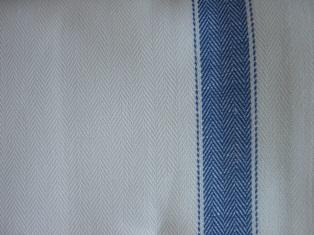 Tessuto per asciugapiatti misto lino - listone - blu