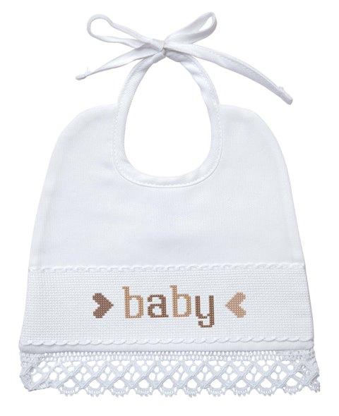 Bavaglino nascita/battesimo con merletto - bianco