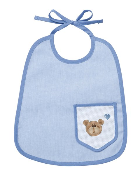Bavaglino 6 mesi - taschino - azzurro